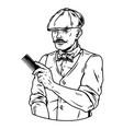 trendy mustached barber in irish cap vector image vector image