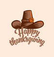 vintage hat for thanksgiving vector image