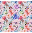 Watercolor flowers pattern vector image vector image