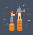 woman and man standing at coins vector image vector image