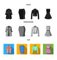 women clothing black flat monochrome icons in vector image vector image