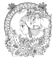 zentangl girl in the floral vector image vector image