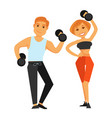 fitness boy and girl doing exercises with vector image