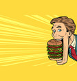 hungry man with a giant burger street food vector image