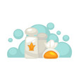 hotel shampoo and shower gel bottles with soap in vector image