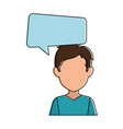young man with speech bubble avatar character vector image