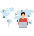 Concept social network - man with laptop vector image