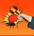 pop art judge hand hitting wooden gavel vector image