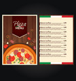 restaurant cafe menu italian pizza menu pizza vector image