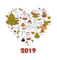 2019 new year celebration symbols bunny character vector image