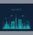 almaty skyline city kazakhstan linear style vector image vector image