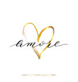 amore text with gold heart isolated vector image vector image