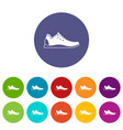 athletic shoe set icons vector image vector image