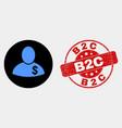 banker icon and distress b2c seal vector image vector image