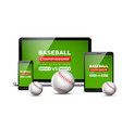 baseball flyer mobile screen design game vector image vector image