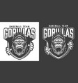 baseball team angry gorilla mascot emblem vector image vector image