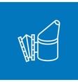 Bee hive smoker line icon vector image vector image