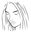 black and white of a pretty girl vector image vector image