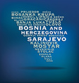 Bosnia and Herczegovina map made with name of vector image vector image