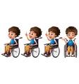 Boy on wheelchair vector image vector image