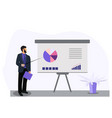 business man making a presentation of whiteboard vector image