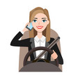 businesswoman driving a car talking on the phone vector image