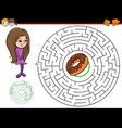 cartoon maze game with girl and doughnut vector image vector image