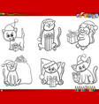 cats on christmas time set coloring book vector image vector image