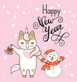 christmas card congratulations cute unicorn vector image