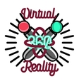 Color vintage Virtual Reality emblem vector image vector image