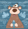cute broen bear with fish vector image