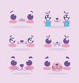 emojis kawaii cartoon cat expression faces set vector image