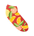 fashion red short sock with pieces lemon and vector image vector image