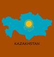 flag map of kazakhstan vector image vector image