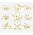 Flat bakery symbols gold vector image