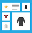 flat icon garment set of banyan t-shirt uniform vector image vector image