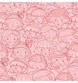 girls in crowd seamless pattern background vector image