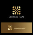 gold circle people team logo vector image vector image
