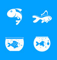 goldfish and fishbowl icons set simple style vector image vector image