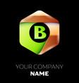 green letter b logo in the golden-green hexagonal vector image