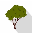 Green tree with a rounded crown icon flat style vector image vector image