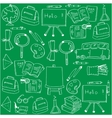 Hand draw school doodles set on green backgrounds vector image