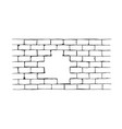 hand drawn brick hole wall vector image