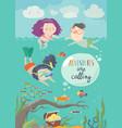 happy children swimming on sea girl diving vector image vector image