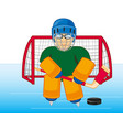 hockey goalkeeper cost stand on winch vector image
