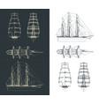 large sailing ship drawings vector image vector image