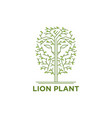 lion face in the trees logo vector image vector image