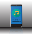 music player on smartphone screen vector image vector image