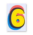 number 6 poster vector image