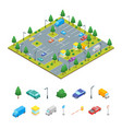 parking zone and elements concept 3d isometric vector image vector image
